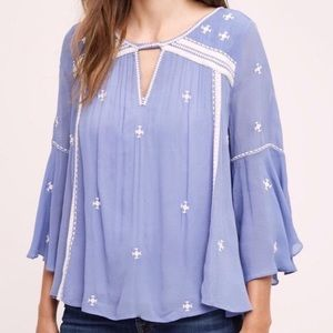 Anthropologie Floreat Adena Embroidered Top